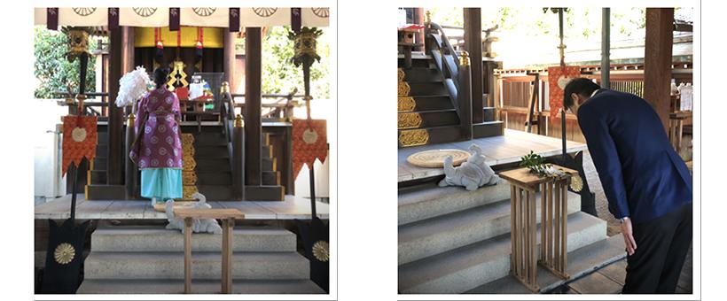 京都「玄武神社」にて紅白亀甲餅 御祈祷の様子