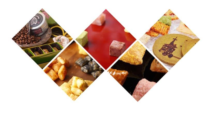 カフェチョコあられ「金襴」、イタリアンあられ、凍りわらび、綴れ、オリジナルせんべいなどの宗禅商品が高級ホテルや神社仏閣などでおもてなしものとして利用されています