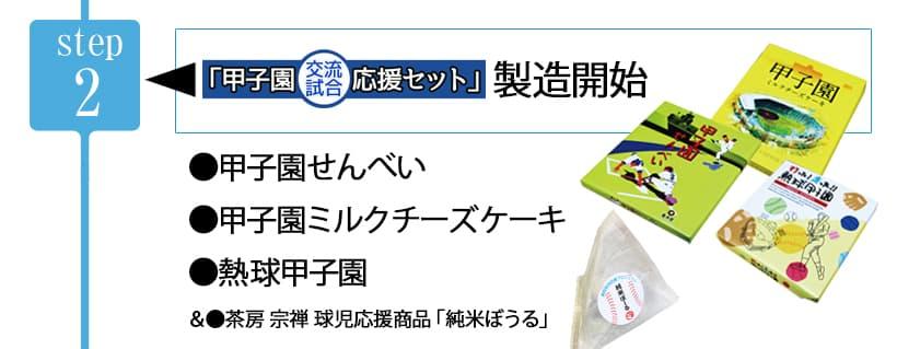 【Step2】甲子園交流試合応援セット製造開始 甲子園せんべい、甲子園ミルクチーズケーキ、打った!走った!熱球甲子園